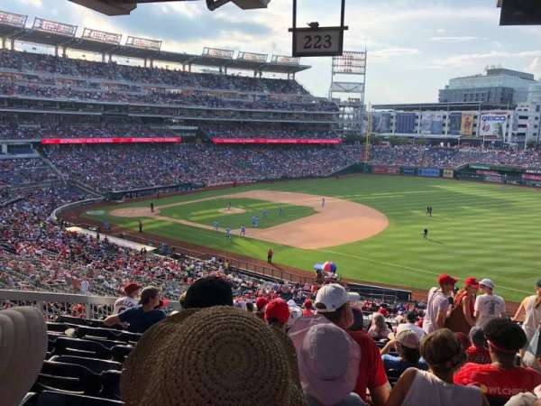 Nationals Park, secção: 223, fila: P, lugar: 3