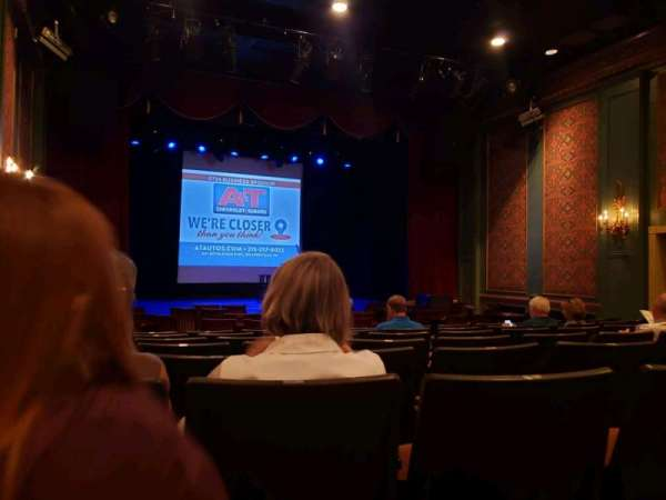Sellersville Theater, secção: First half, fila: H, lugar: 14