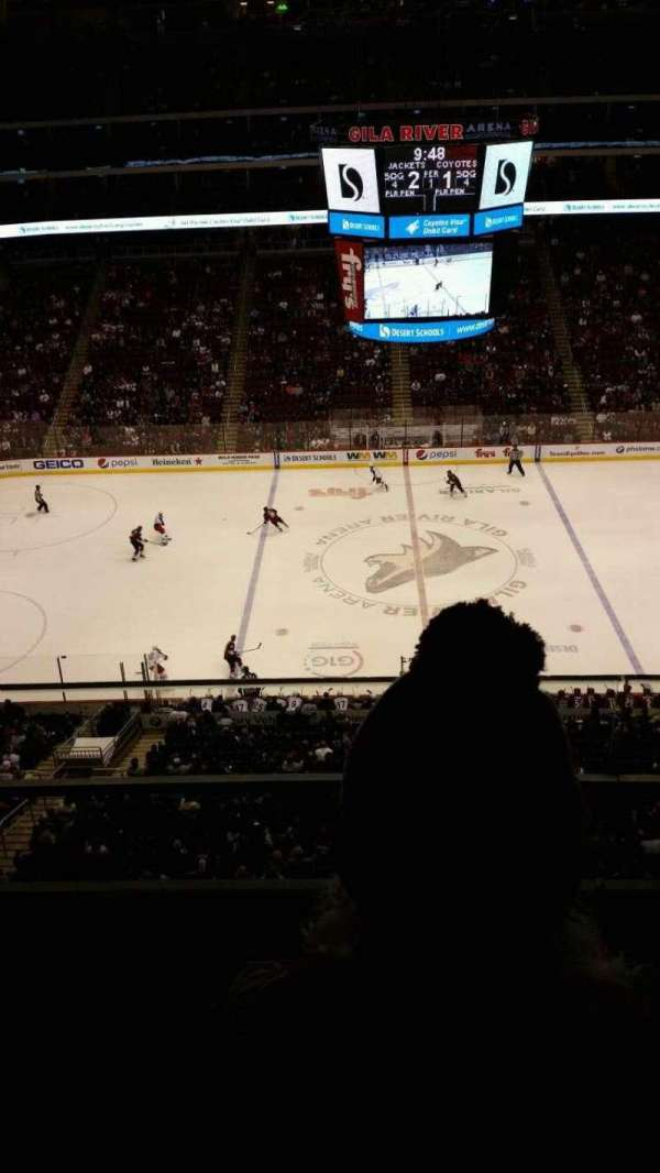 Gila River Arena, secção: 201, fila: B, lugar: 4