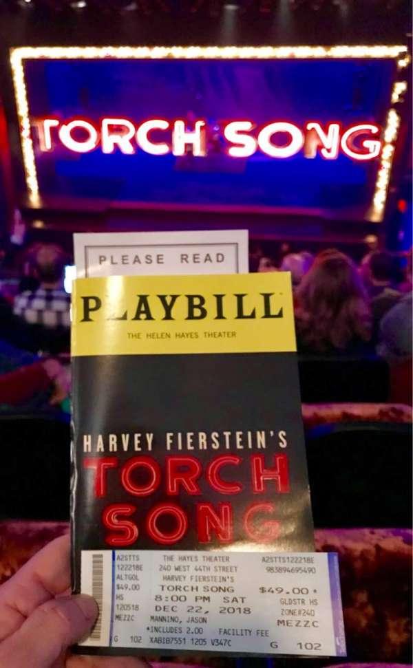 Hayes Theater, secção: Mezzanine C, fila: G, lugar: 103