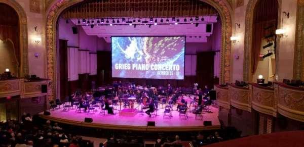 Orchestra Hall, secção: Box Center, fila: J, lugar: 7