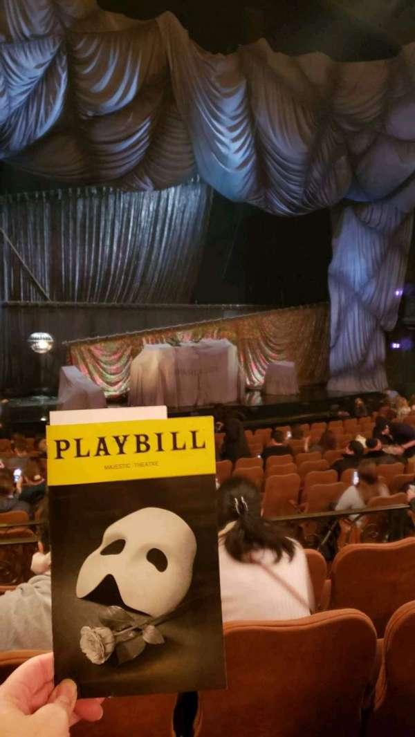 Majestic Theatre, secção: orchestra l, fila: n, lugar: 11