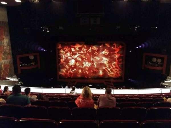 Minskoff Theatre, secção: Mezzanine, fila: H, lugar: 127