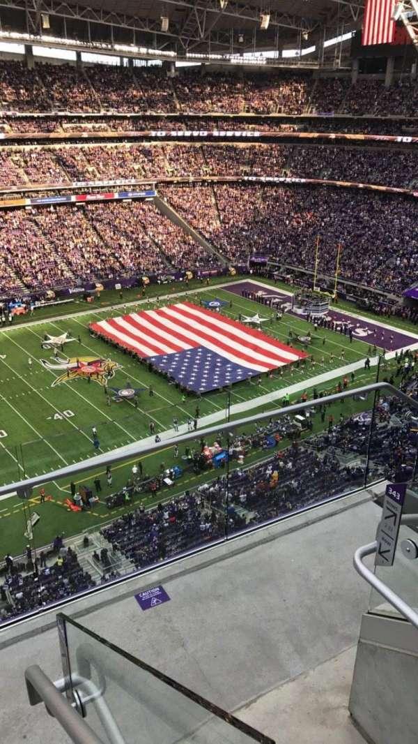 U.S. Bank Stadium, secção: 343, fila: 3, lugar: 1