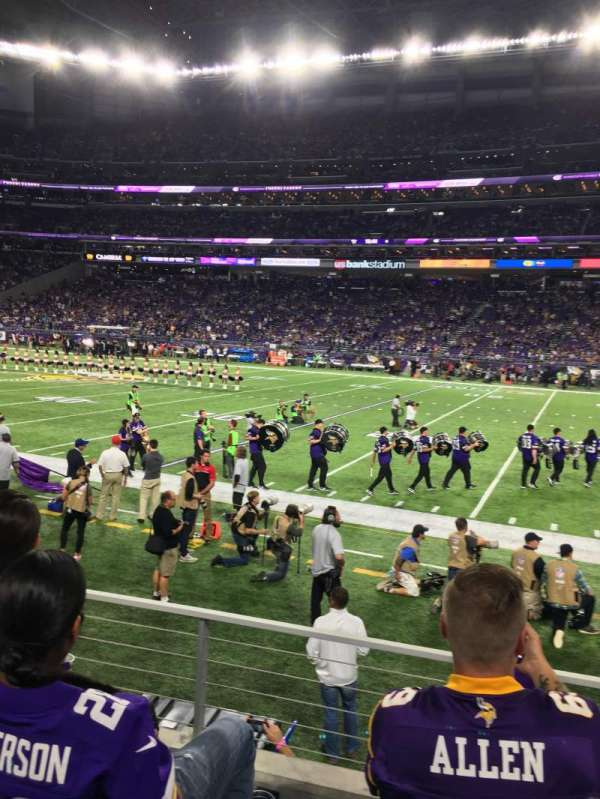 U.S. Bank Stadium, secção: 129, fila: 3, lugar: 13