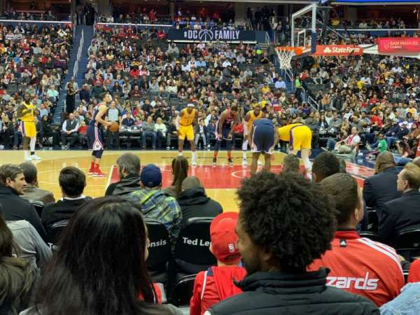 Capital One Arena, secção: 101, fila: B, lugar: 5