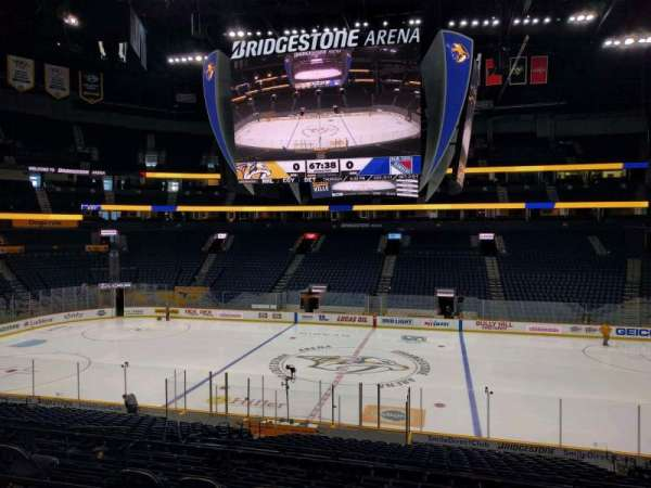 Bridgestone Arena, secção: 106, fila: m, lugar: 7