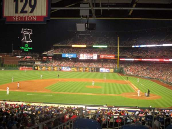 Citizens Bank Park, secção: 129, fila: 40, lugar: 1