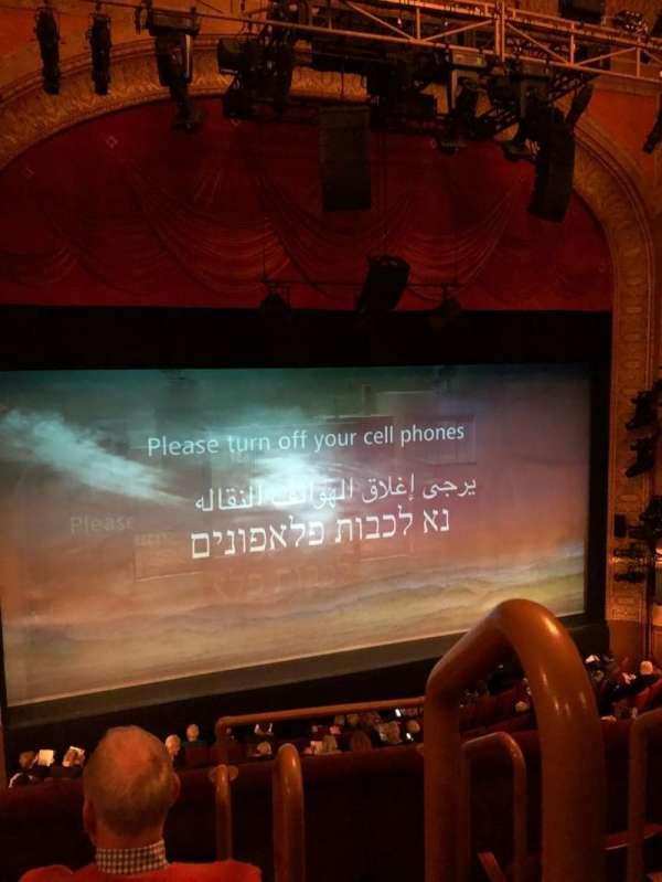 Ethel Barrymore Theatre, secção: Mezzanine, fila: D, lugar: 1