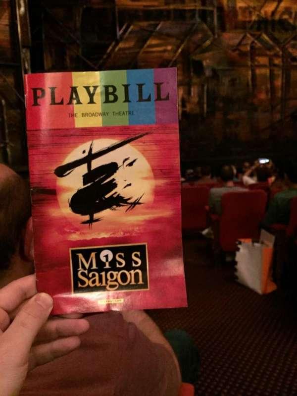 Broadway Theatre - 53rd Street, secção: Orchestra L, fila: K, lugar: 2