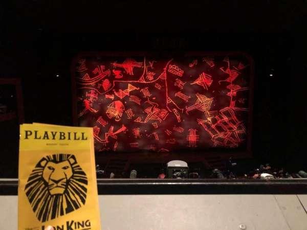 Minskoff Theatre, secção: Mezzanine, fila: A, lugar: 120
