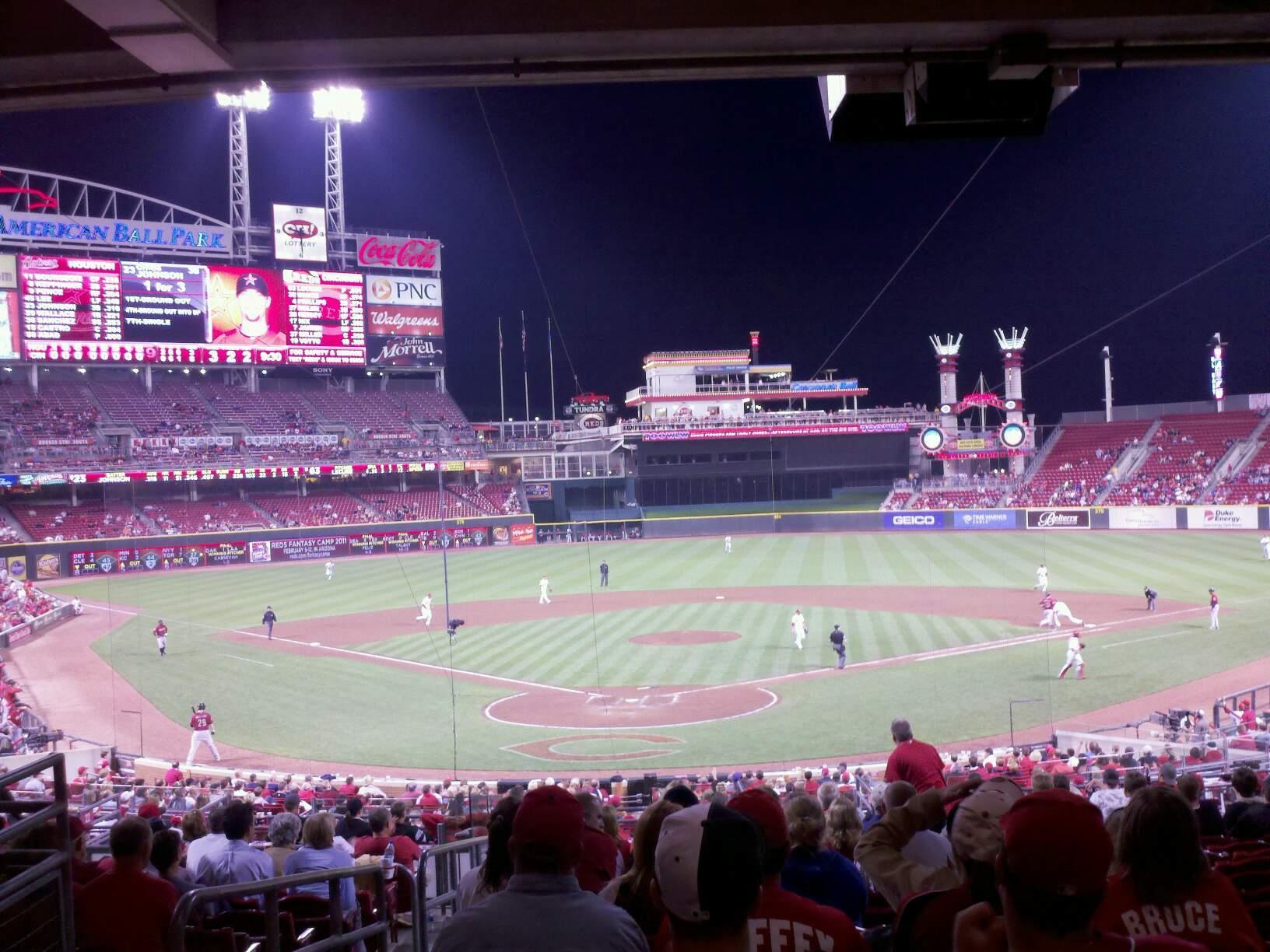 Great American Ball Park Secção 124 Fila O Lugar 17