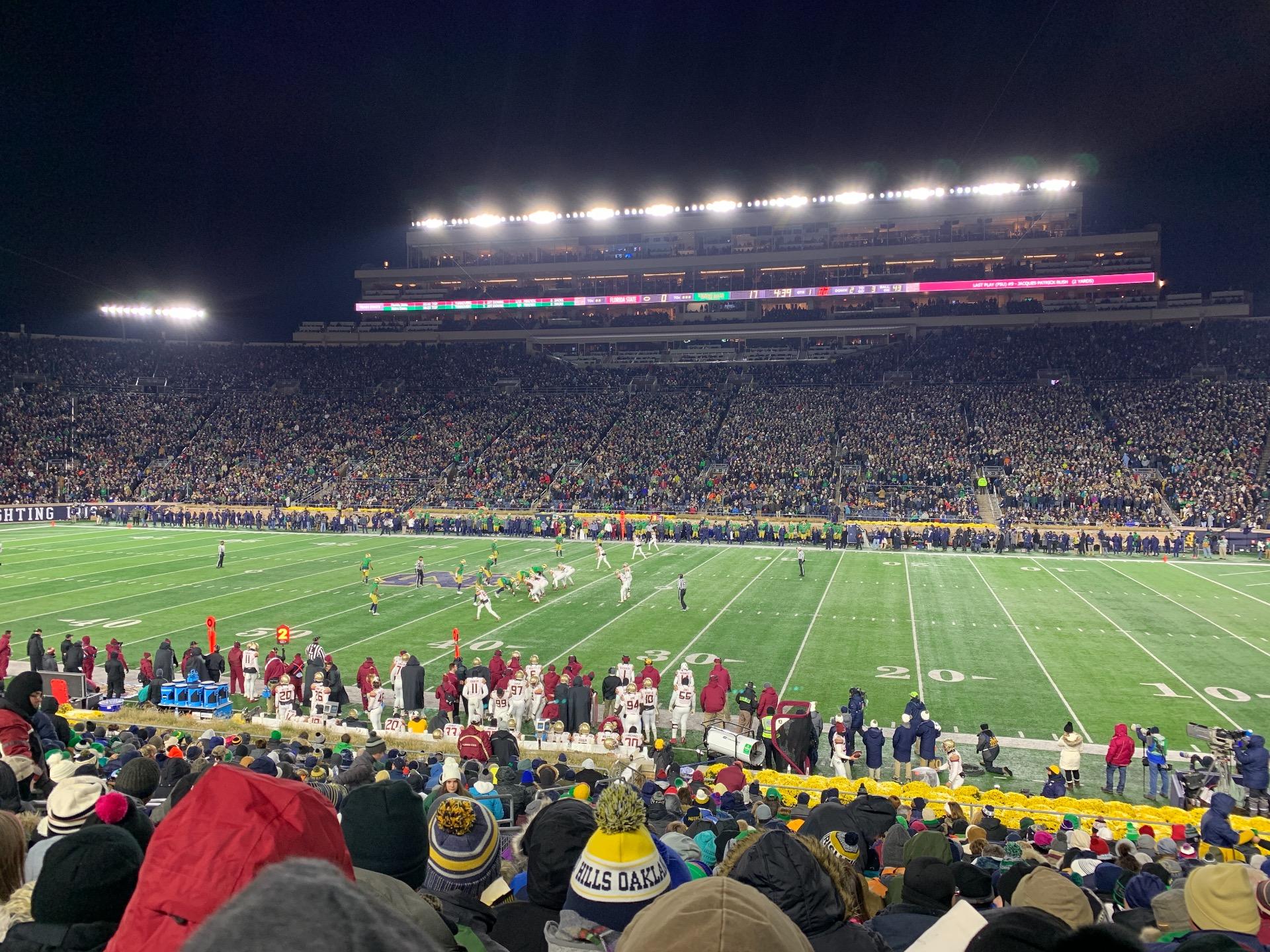 Notre Dame Stadium Secção 8 Fila 33 Lugar 15