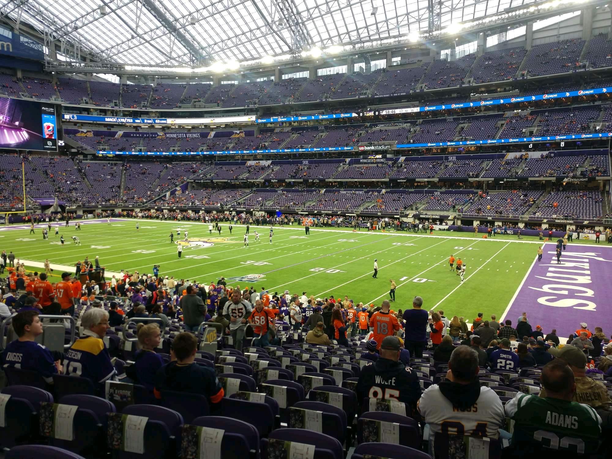 U.S. Bank Stadium Secção 105 Fila 24 Lugar 8