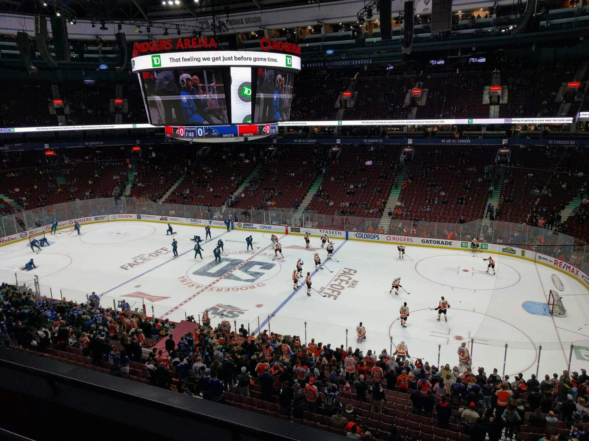 Rogers Arena Secção 321 Fila 3 Lugar 102