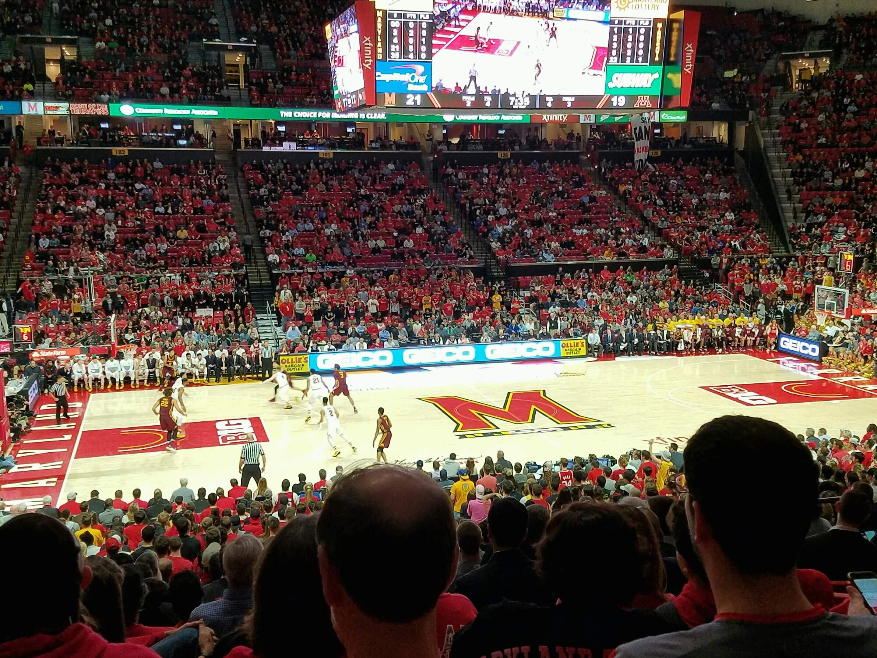Xfinity Center (Maryland) Secção 113 Fila 15 Lugar 10