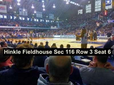 Hinkle Fieldhouse, secção: 116, fila: 3, lugar: 6