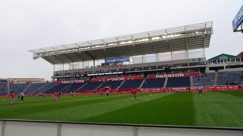 Vista sentada para Seatgeek Stadium Secção 104 Fila 1 Lugar 1