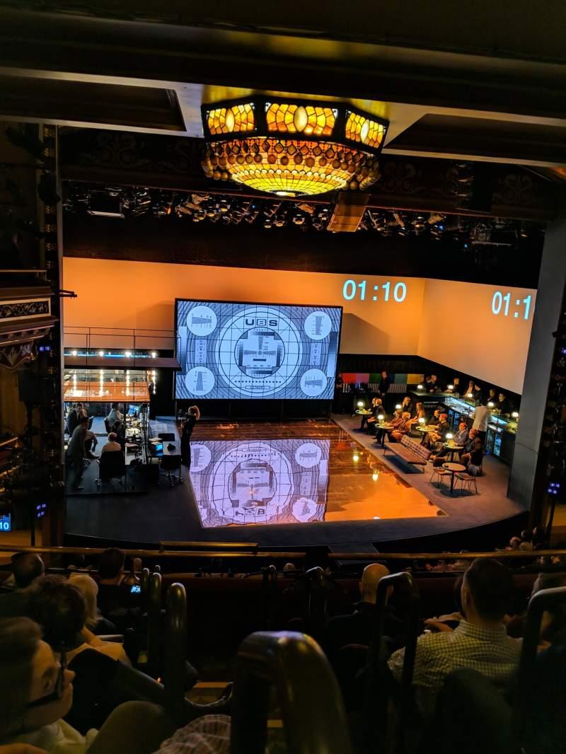 Vista sentada para Belasco Theatre Secção Mezzanine L Fila f Lugar 1