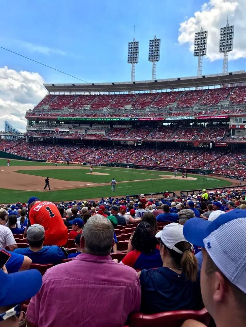 Vista sentada para Great American Ball Park Secção 113 Fila BB Lugar 16