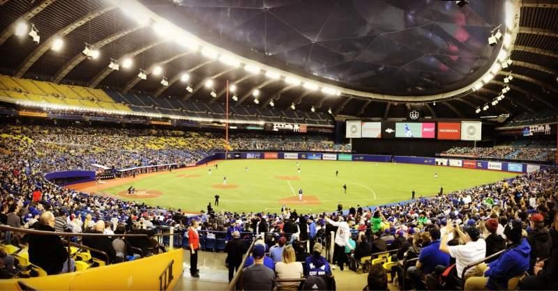Vista sentada para Olympic Stadium, Montreal Secção 109 Fila M Lugar 11