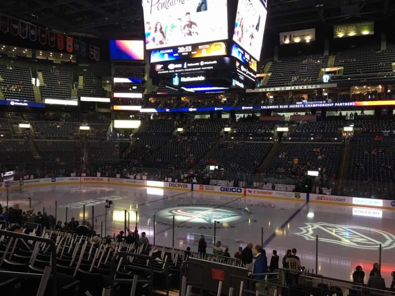Vista sentada para Nationwide Arena Secção 113 Fila U Lugar 16