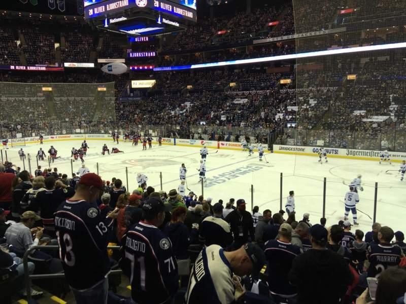 Vista sentada para Nationwide Arena Secção 112 Fila Q Lugar 14