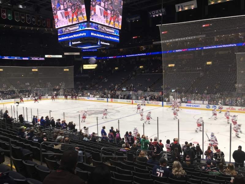 Vista sentada para Nationwide Arena Secção 112 Fila S Lugar 12