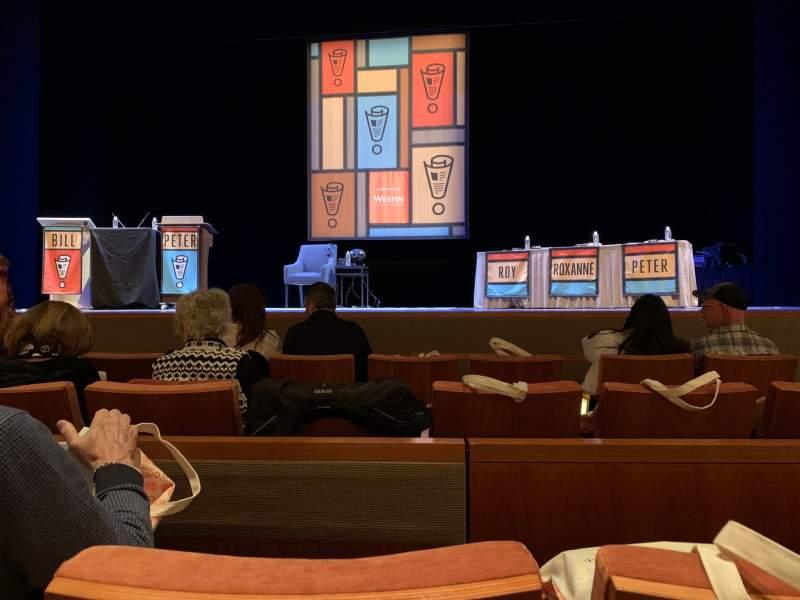 Vista sentada para Eccles Theater Secção Orchestra C Fila B Lugar 5
