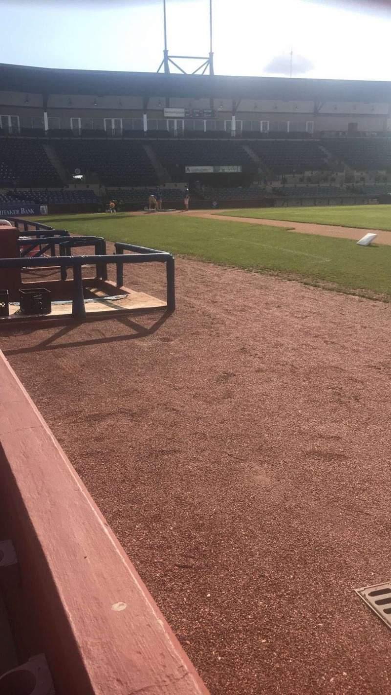 Vista sentada para Whitaker Bank Ballpark Secção 101 Fila 1 Lugar 8