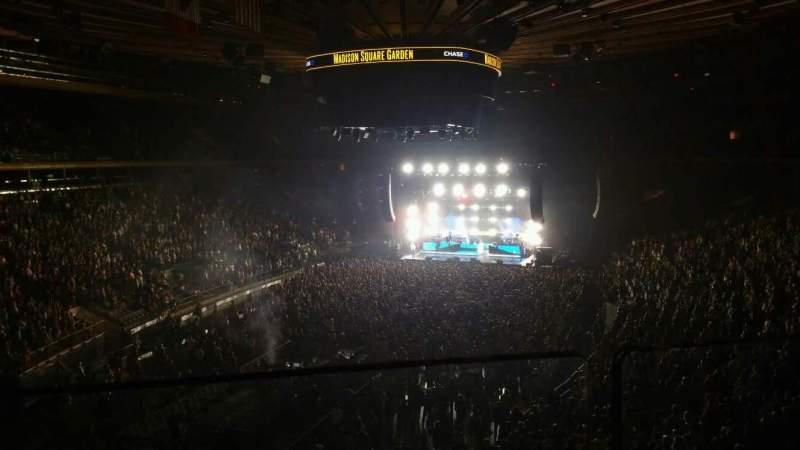 Vista sentada para Madison Square Garden Secção 206 Fila 1 Lugar 3