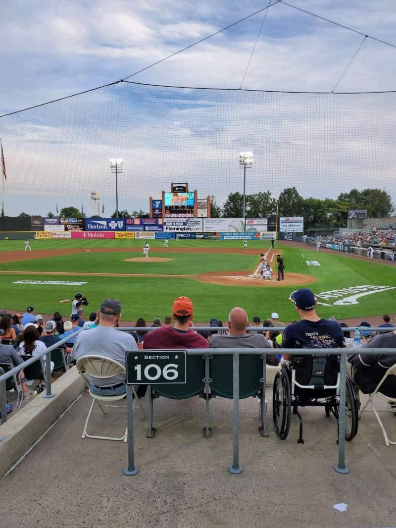 Vista sentada para TD Bank Ballpark Secção 206 Fila K Lugar 10