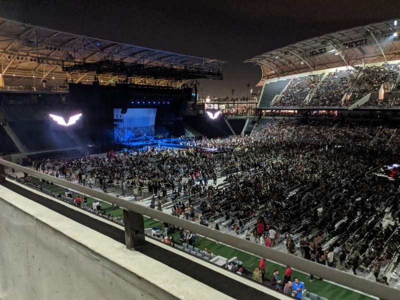 Vista sentada para Banc of California Stadium Secção Founders Club B Fila A Lugar 14