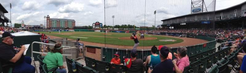 Vista sentada para Northeast Delta Dental Stadium Secção 107 Fila 4 Lugar 11