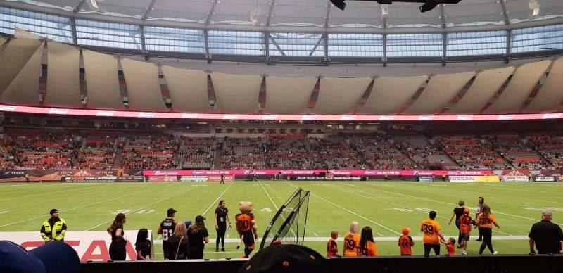 Vista sentada para BC Place Secção 242 Fila B Lugar 107