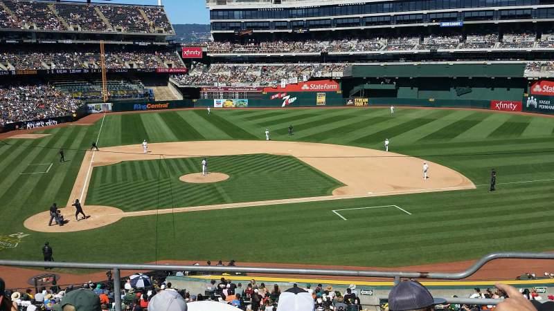 Vista sentada para Oakland Coliseum Secção 214 Fila 4 Lugar 6
