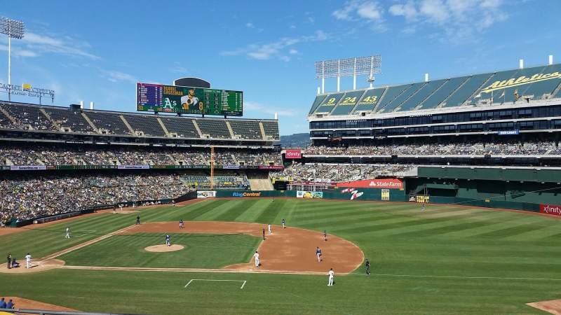 Vista sentada para Oakland Coliseum Secção 211 Fila 5 Lugar 11