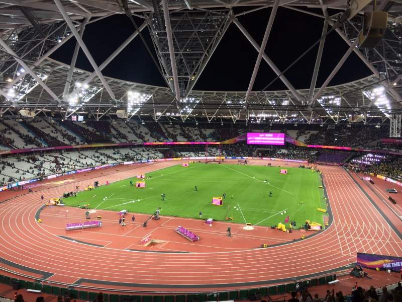 Vista sentada para London Stadium Secção 253 Fila 56 Lugar 789