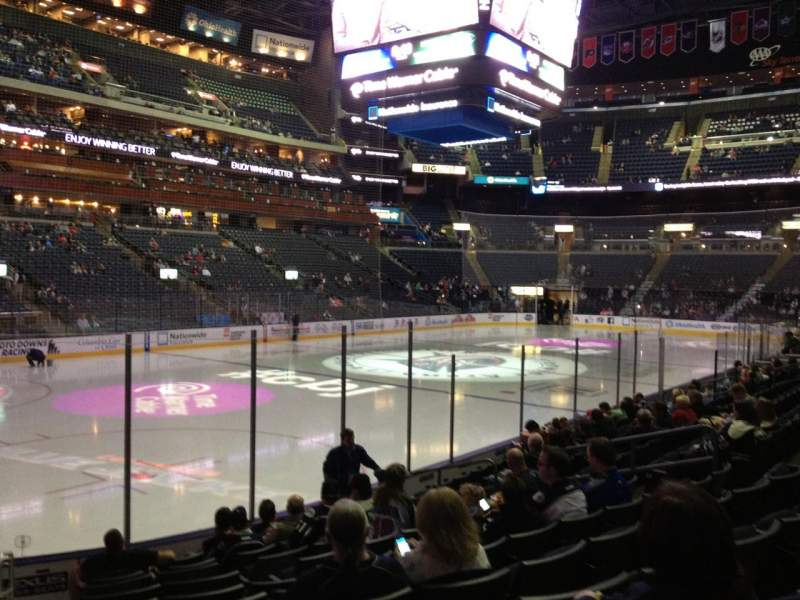 Vista sentada para Nationwide Arena Secção 106 Fila L Lugar 16