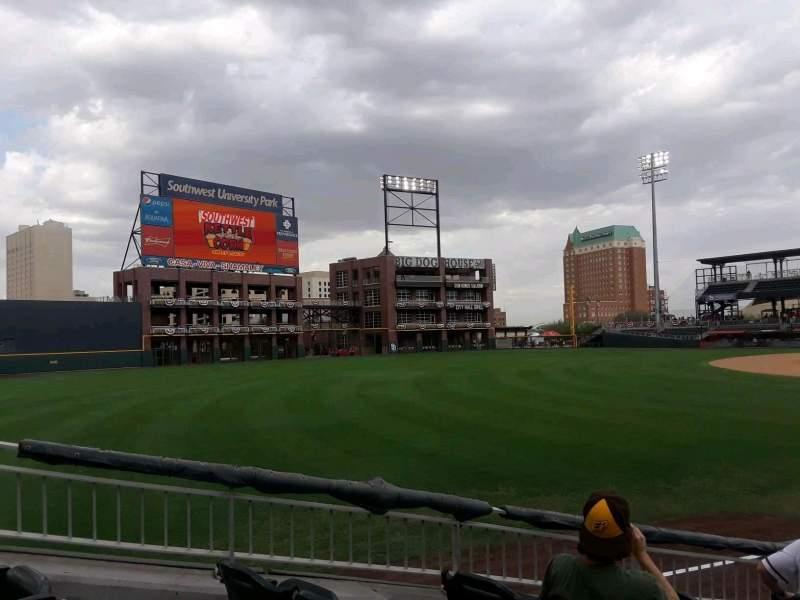 Vista sentada para Southwest University Park Secção 123 Fila J Lugar 1