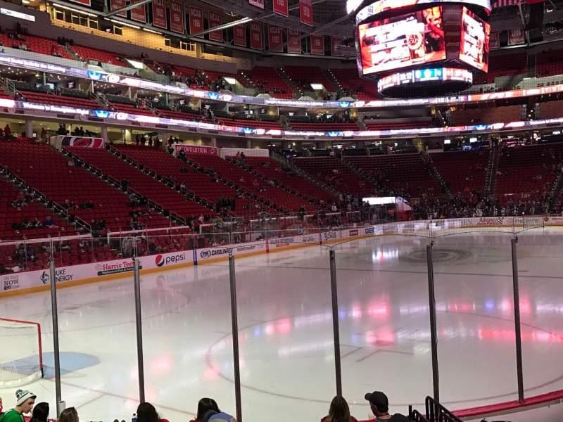 Vista sentada para PNC Arena Secção 109 Fila J Lugar 6