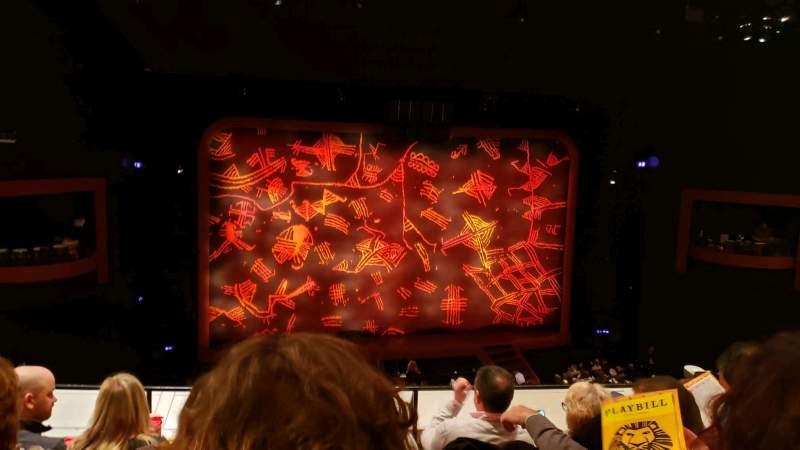Vista sentada para Minskoff Theatre Secção Mezzanine Fila D Lugar 111