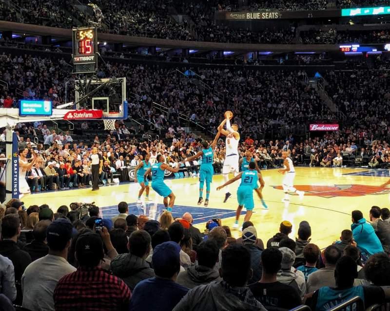 Vista sentada para Madison Square Garden Secção 104 Fila 3 Lugar 9