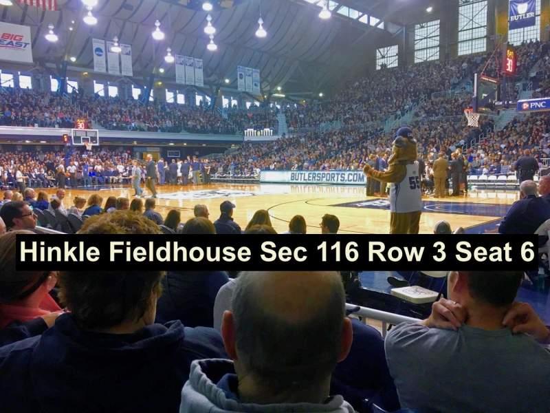 Vista sentada para Hinkle Fieldhouse Secção 116 Fila 3 Lugar 6