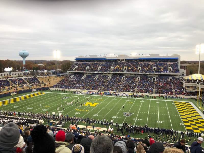 Vista sentada para Navy-Marine Corps Memorial Stadium Secção 102 Fila 27 Lugar 16
