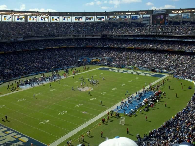 Vista sentada para San Diego Stadium Secção V58 Fila 14 Lugar 18