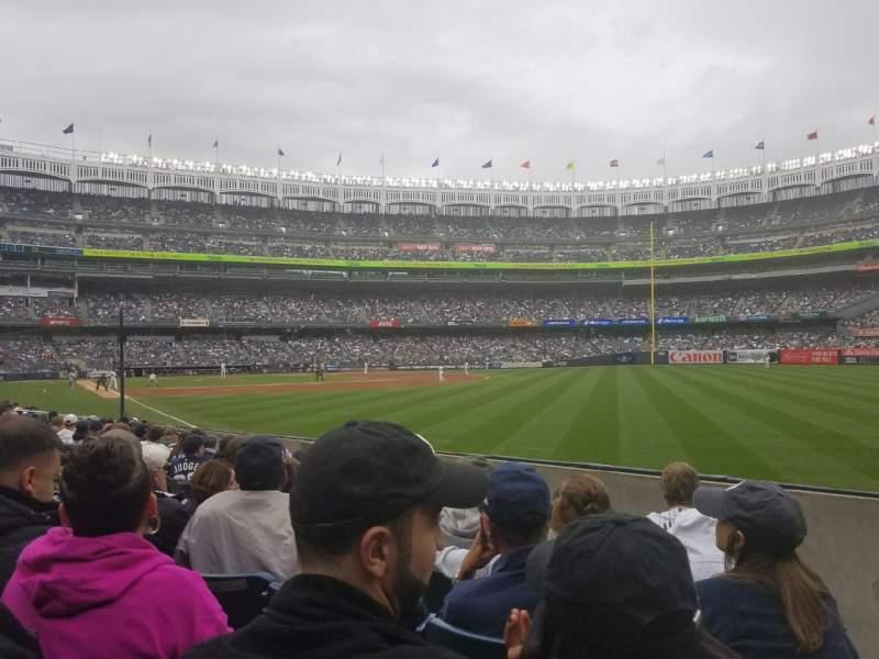 Vista sentada para Yankee Stadium Secção 109 Fila 7 Lugar 1