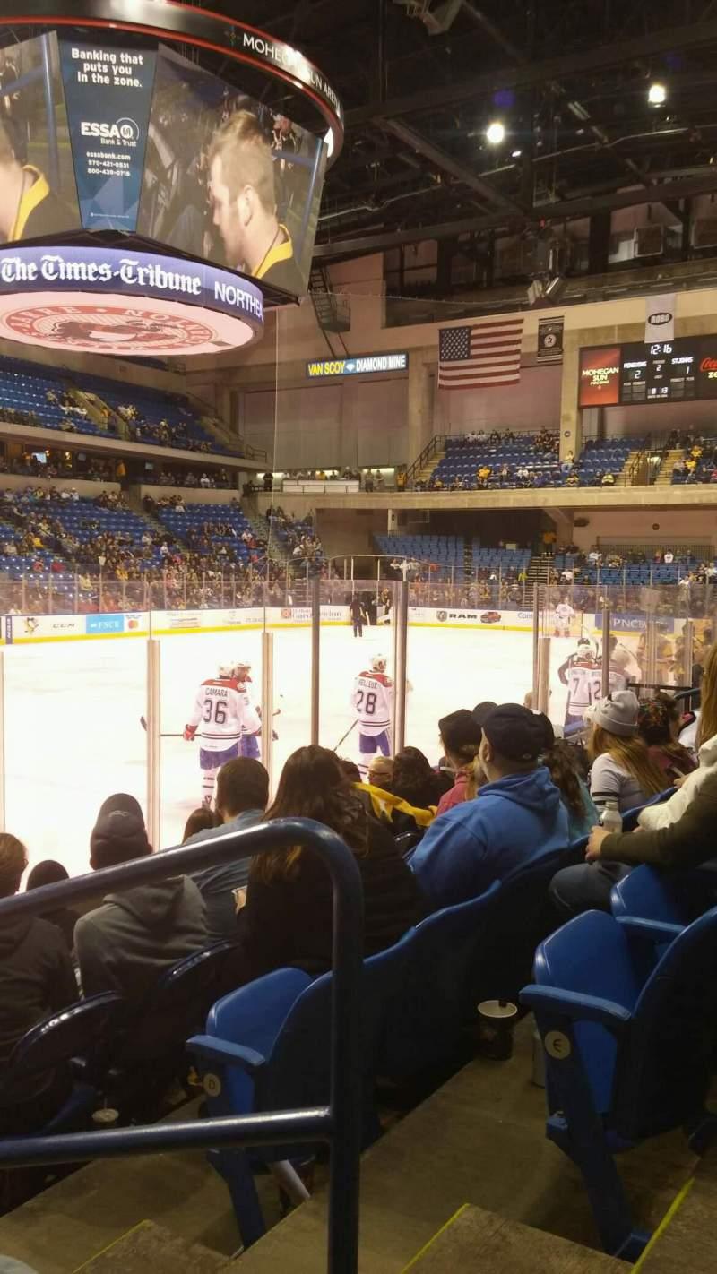 Vista sentada para Mohegan Sun Arena at Casey Plaza Secção 106 Fila F Lugar 1