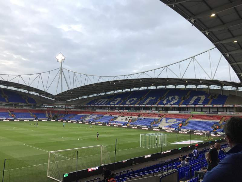 Vista sentada para University of Bolton Stadium Secção South stand lower Fila T Lugar 33