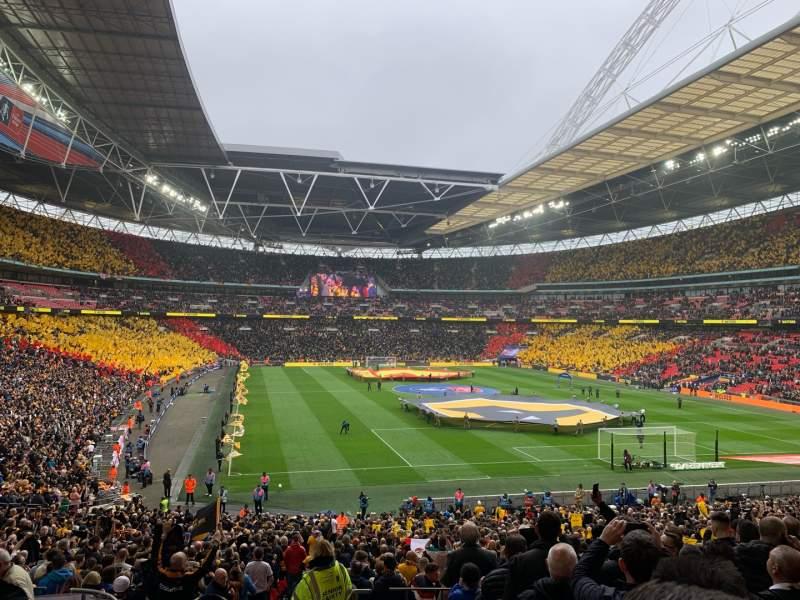 Vista sentada para Wembley Stadium Secção 114 Fila 40 Lugar 68